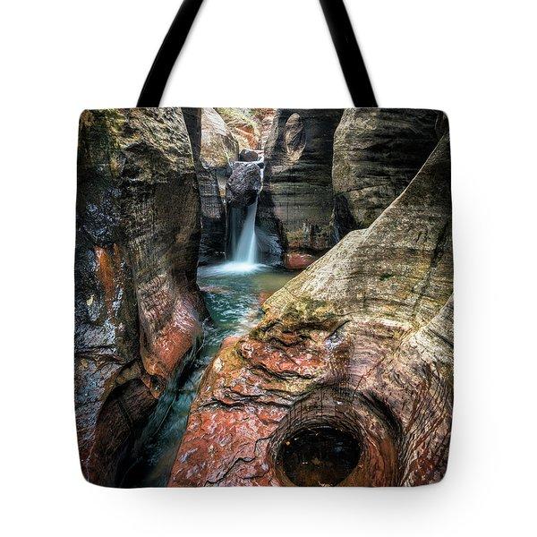 Slot Canyon Waterfall At Zion National Park Tote Bag