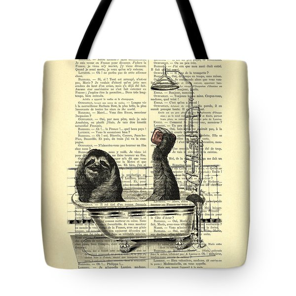 Sloth, Funny Children's Art, Bathroom Decor Tote Bag