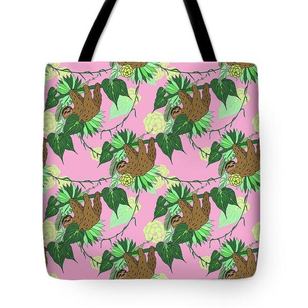 Sloth - Green On Pink Tote Bag