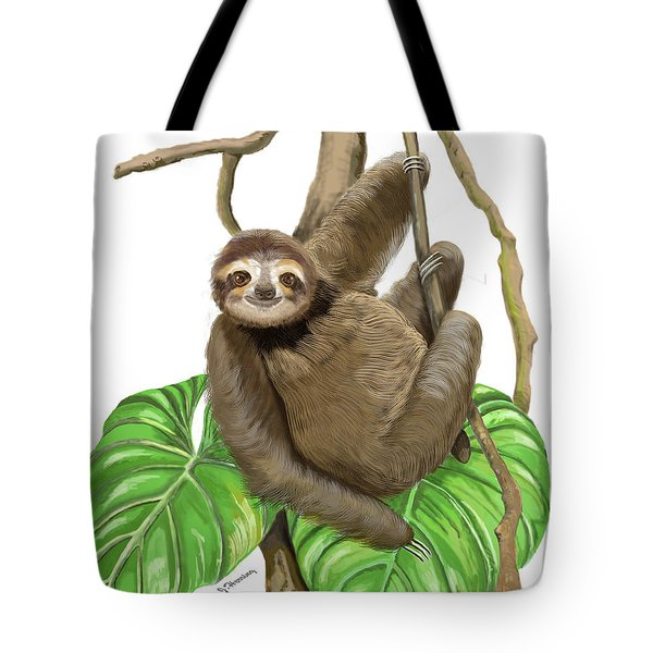 Hanging Three Toe Sloth  Tote Bag