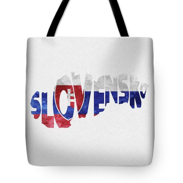 Slovakia Typographic Map Flag Tote Bag