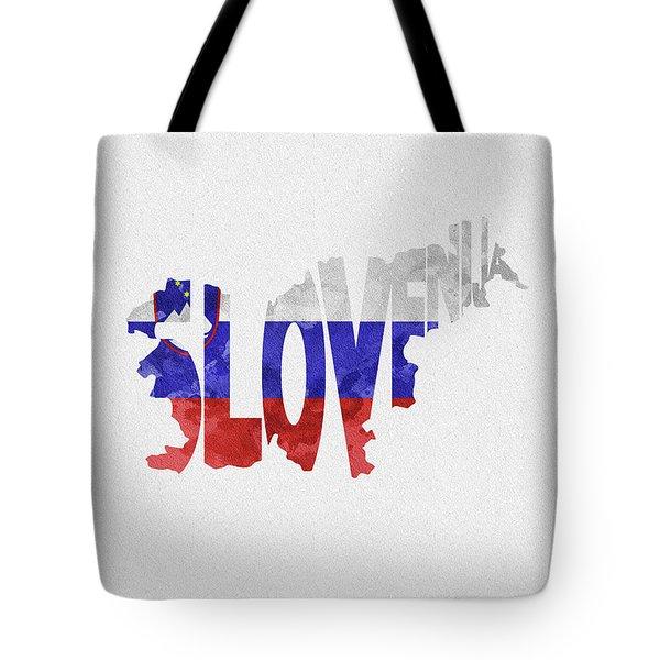 Slovenia Typographic Map Flag Tote Bag