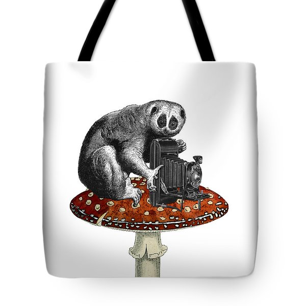 Slow Loris With Antique Camera Tote Bag