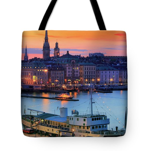 Slussen By Night Tote Bag by Inge Johnsson