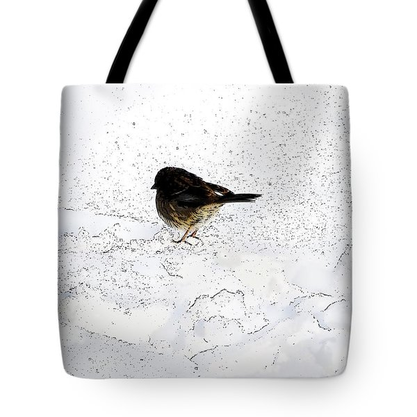 Small Bird On Snow Tote Bag