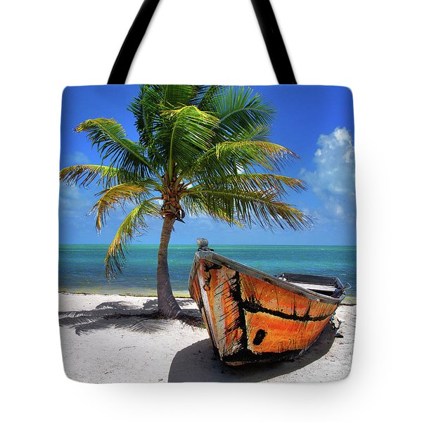 Small Boat And Palm Tree On White Sandy Beach In The Florida Keys Tote Bag