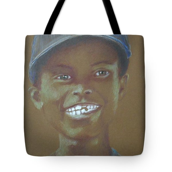 Small Boy, Big Grin -- Retro Portrait Of Black Boy Tote Bag