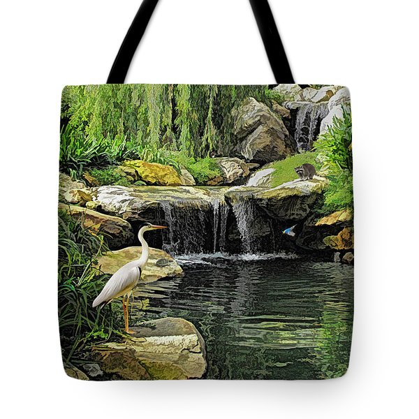 Small Creek Waterfall With Wildlife Tote Bag