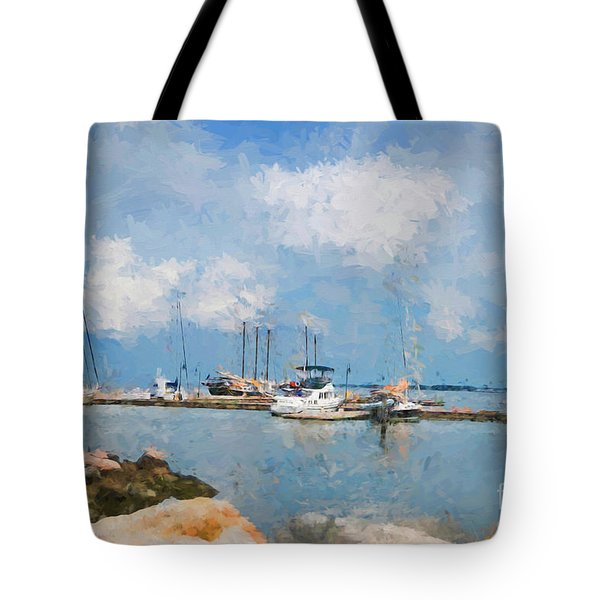 Small Dock With Boats Tote Bag