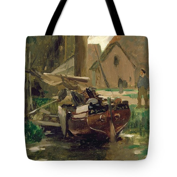 Small Harbor With A Boat  Tote Bag by Thomas Ludwig Herbst