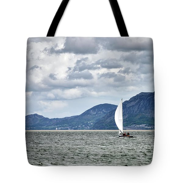 Small Leisure Sailing Boat On Menai Straits In Anglesey Wales Wi Tote Bag