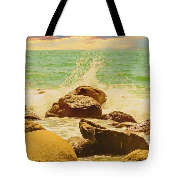 Small Ocean Waves,large Rocks. Tote Bag