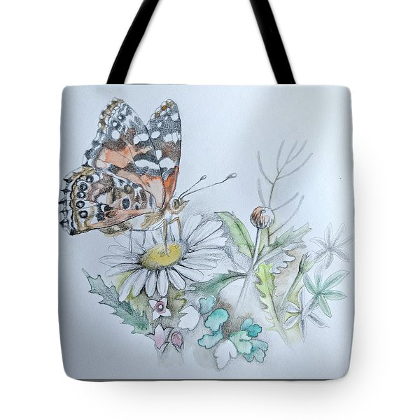 Tote Bag featuring the drawing Small Pleasures by Rose Legge