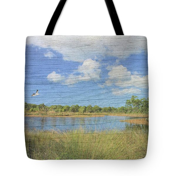 Small Pond With Weathered Wood Tote Bag by Rosalie Scanlon