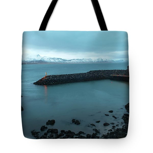 Tote Bag featuring the photograph Small Port Near Snaefellsjokull Mountain, Iceland by Dubi Roman