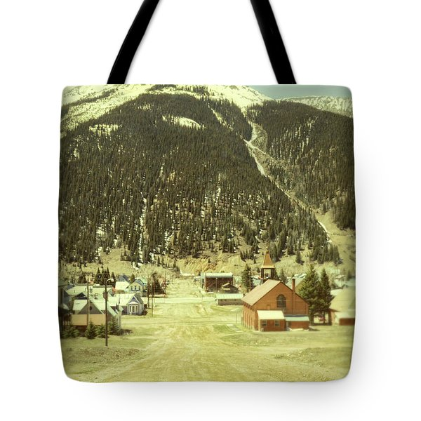 Small Rocky Mountain Town Tote Bag by Jill Battaglia