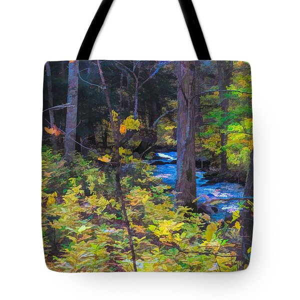 Small Stream Through Autumn Woods Tote Bag