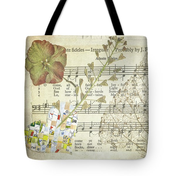 Tote Bag featuring the mixed media Small Tortoiseshell Butterfly Collage by Jan Bickerton