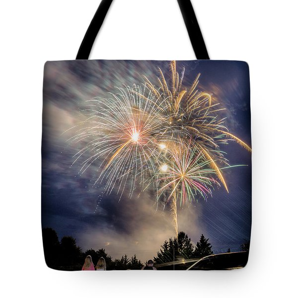 Small Town Fireworks Show Tote Bag