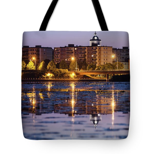Small Town Skyline Tote Bag by Teemu Tretjakov