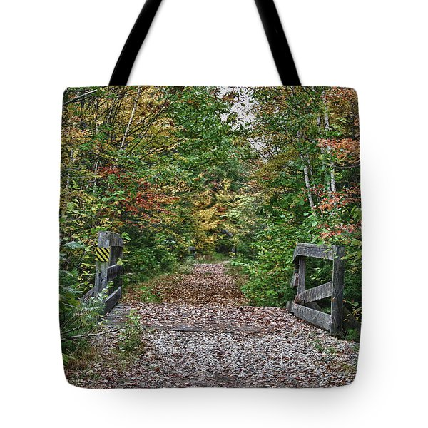 Tote Bag featuring the photograph Small Trestle Along Rail Trail by Jeff Folger
