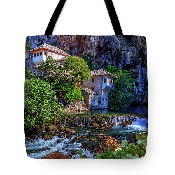 Small Village Blagaj On Buna Waterfall, Bosnia And Herzegovina Tote Bag by Elenarts - Elena Duvernay photo
