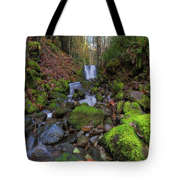 Small Waterfall At Lower Lewis River Falls Tote Bag by David Gn