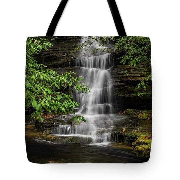 Small Waterfalls In The Forest. Tote Bag