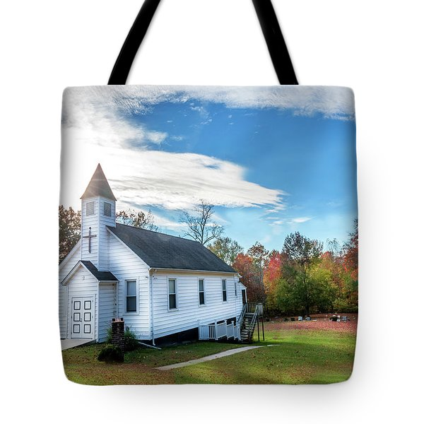 Small Wooden Church In The Countryside During Autumn Tote Bag