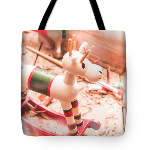 Small Xmas Reindeer On Wood Shavings In Workshop Tote Bag