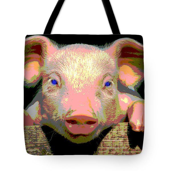 Tote Bag featuring the mixed media Smart Pig by Charles Shoup