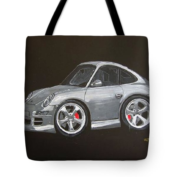 Tote Bag featuring the painting Smart Porsche by Richard Le Page