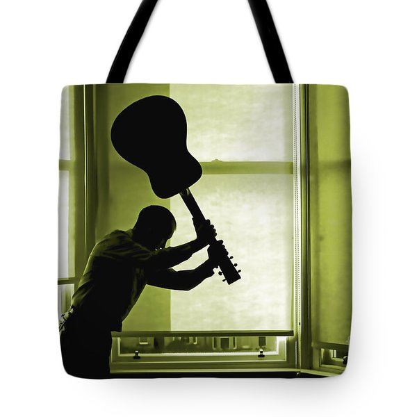 Tote Bag featuring the photograph Smashing Up A Guitar by Craig B