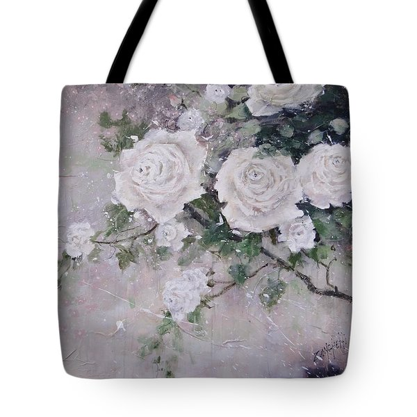 Tote Bag featuring the painting Smell The Roses  by Laura Lee Zanghetti