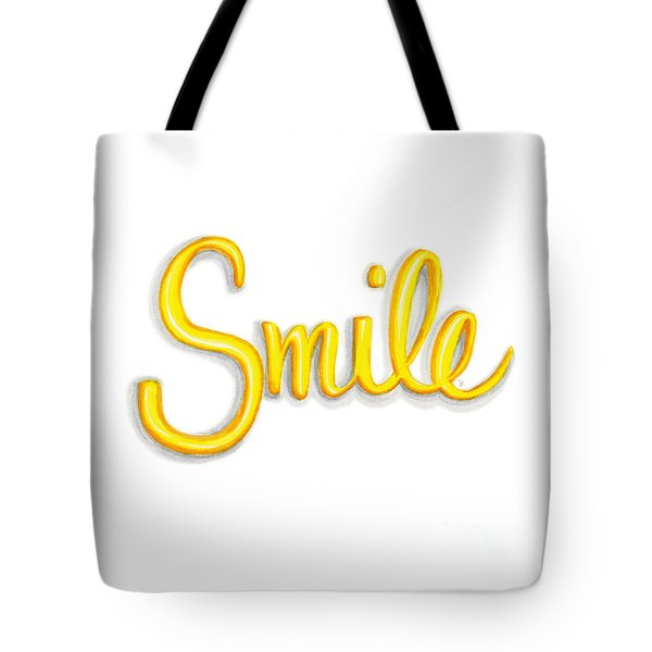 Tote Bag featuring the drawing Smile by Cindy Garber Iverson