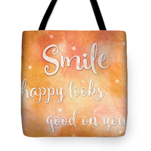 Tote Bag featuring the mixed media Smile by Guy Dicarlo