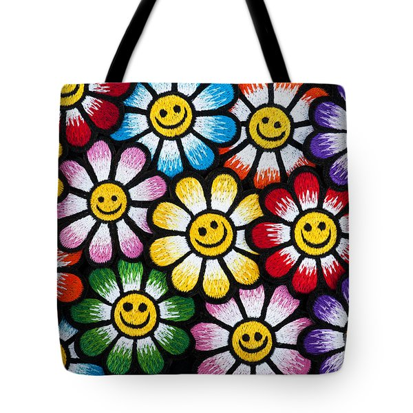 Smiley Flower Faces Tote Bag
