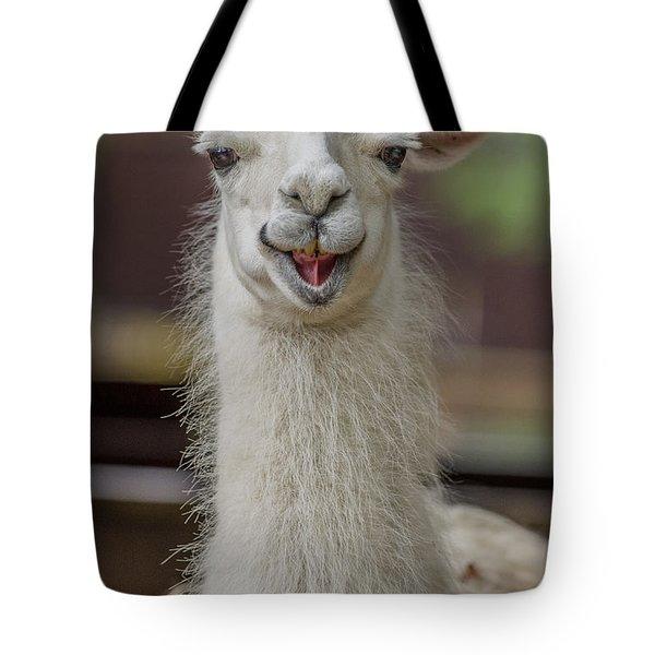 Smiling Alpaca Tote Bag