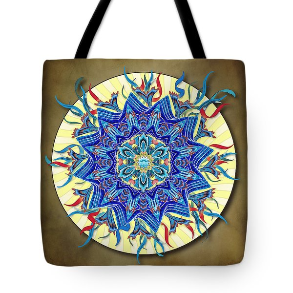 Smiling Blue Moon Mandala Tote Bag