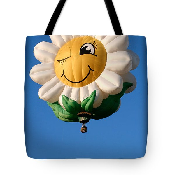Smiling Daisy Hot Air Balloon Tote Bag