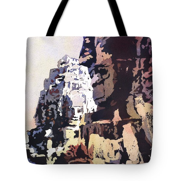 Tote Bag featuring the painting Smiling Faces- Bayon Temple, Cambodia by Ryan Fox