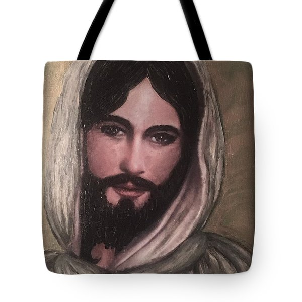 Smiling Jesus Tote Bag by Cena Caterine