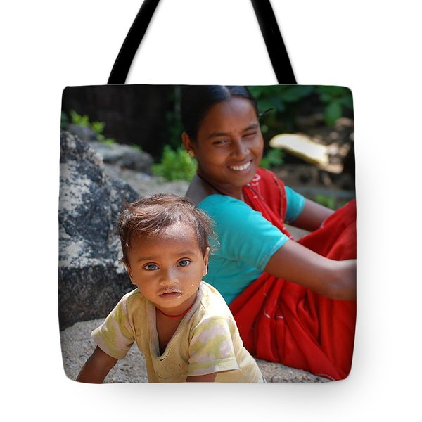 Smiling Mum With Her Son Tote Bag