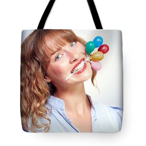 Smiling Party Person With Birthday Balloons Tote Bag