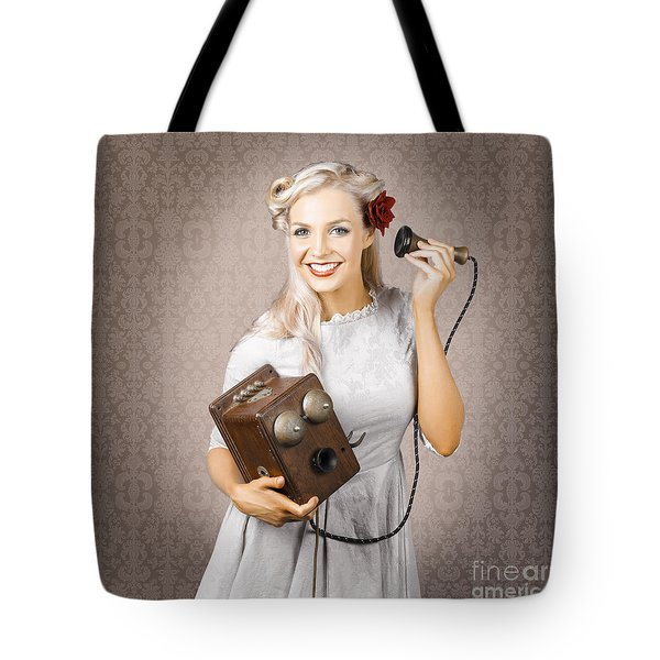 Smiling Vintage Woman Hearing Good News On Phone Tote Bag