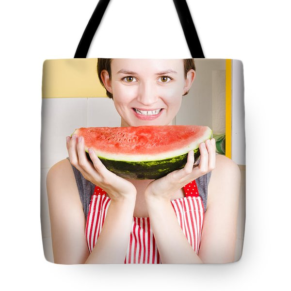 Smiling Young Woman Eating Fresh Fruit Watermelon Tote Bag by Jorgo Photography - Wall Art Gallery
