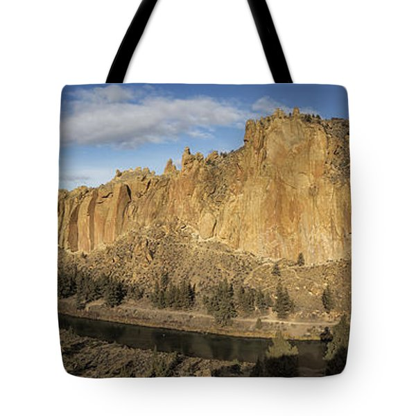 Smith Rock And Crooked River Panorama Tote Bag