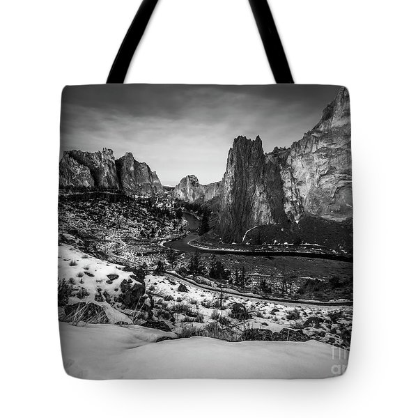 Smith Rock Black And White Tote Bag