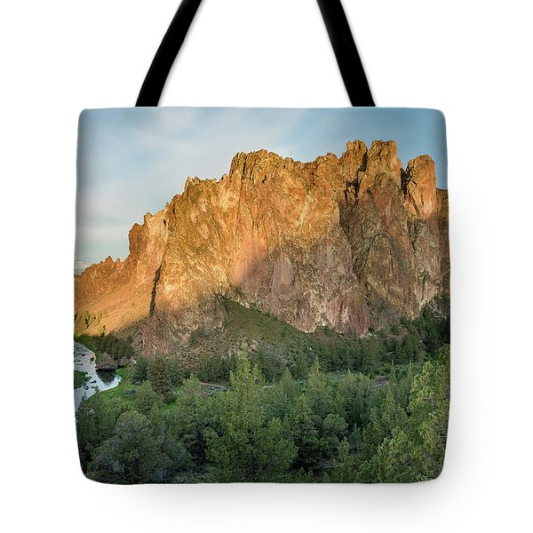 Tote Bag featuring the photograph Smith Rock First Light by Greg Nyquist