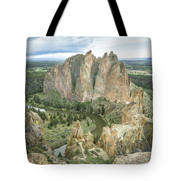 Tote Bag featuring the photograph Smith Rock From Misery Ridge by Tim Newton